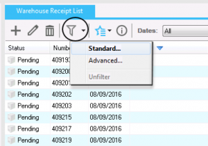 Warehouse Receipt List in Magaya Supply Chain