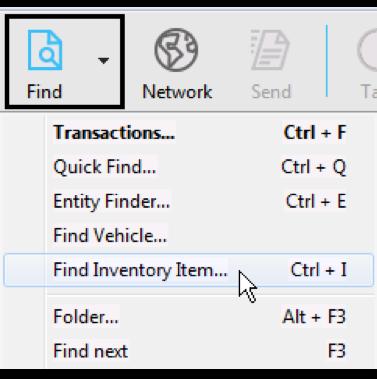 Find Inventory Item on Magaya Software